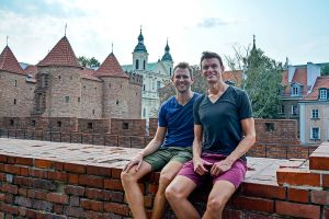 John Line and Scott Swiontek in Old Town, Warsaw, Poland.