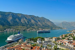 The view of Kotor Bay from Saint George's Fort, Montenegro.