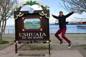 John Line jumping in Ushuaia, Patagonia, Argentina.