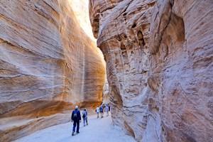 The narrow and deep entrance to Petra, Jordan.