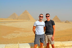Scott Swiontek and John Line standing in front of the Pyramids of Giza, Cairo, Egypt.