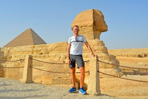Scott Swiontek standing in front of the Sphinx, Giza, Cairo, Egypt.