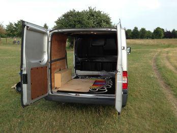 Old van rear doors open