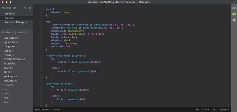 brackets open source html editor