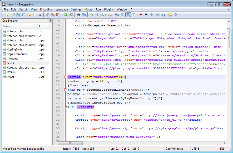 notepad++ open source html editor