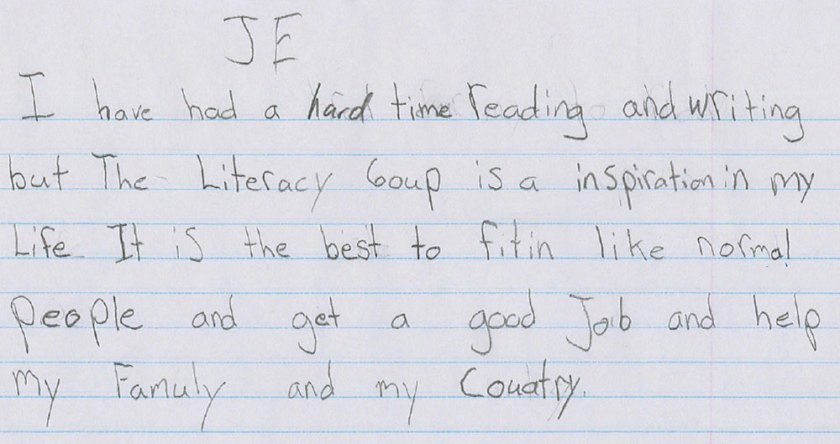 JE own words for The Literacy Group