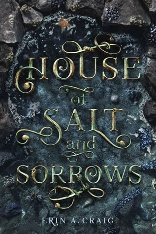 """The text """"House of Salt and Sorrows"""" is scribed n a gold script text with flourishes over a teal watery backdrop"""