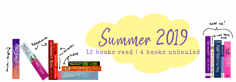 """Twelve illustrated books lay propped up around a yellow cloud that has the text """"Summer 2019"""" and """"12 books read 