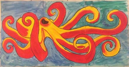 Painted octopus mural
