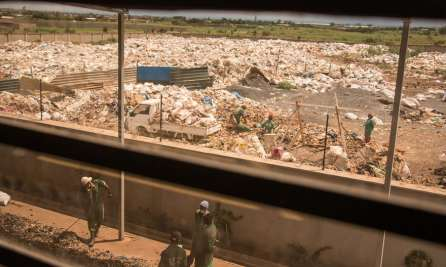 Site where plastic is stored before being processed into fuel.