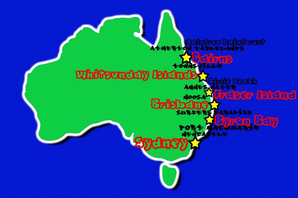 east coast of australia stops