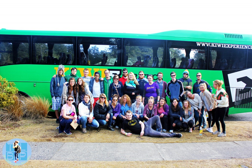 Kiwi Experience gang in front of the bus