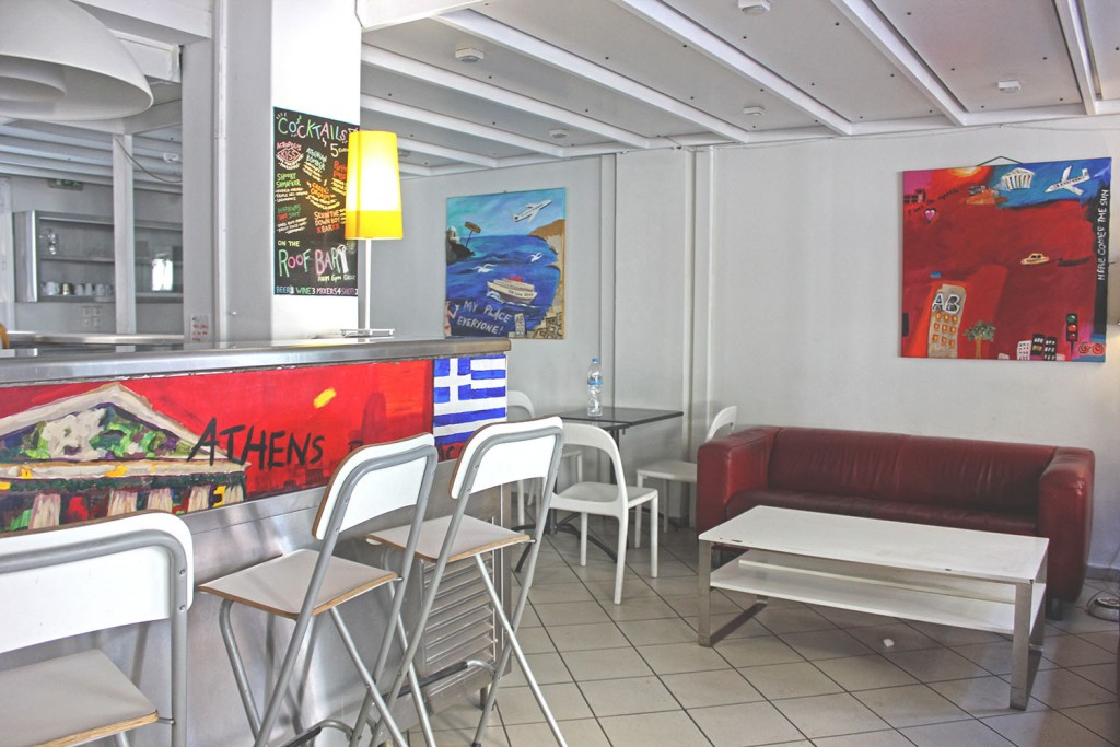 The kitchen area at Athens Backpackers