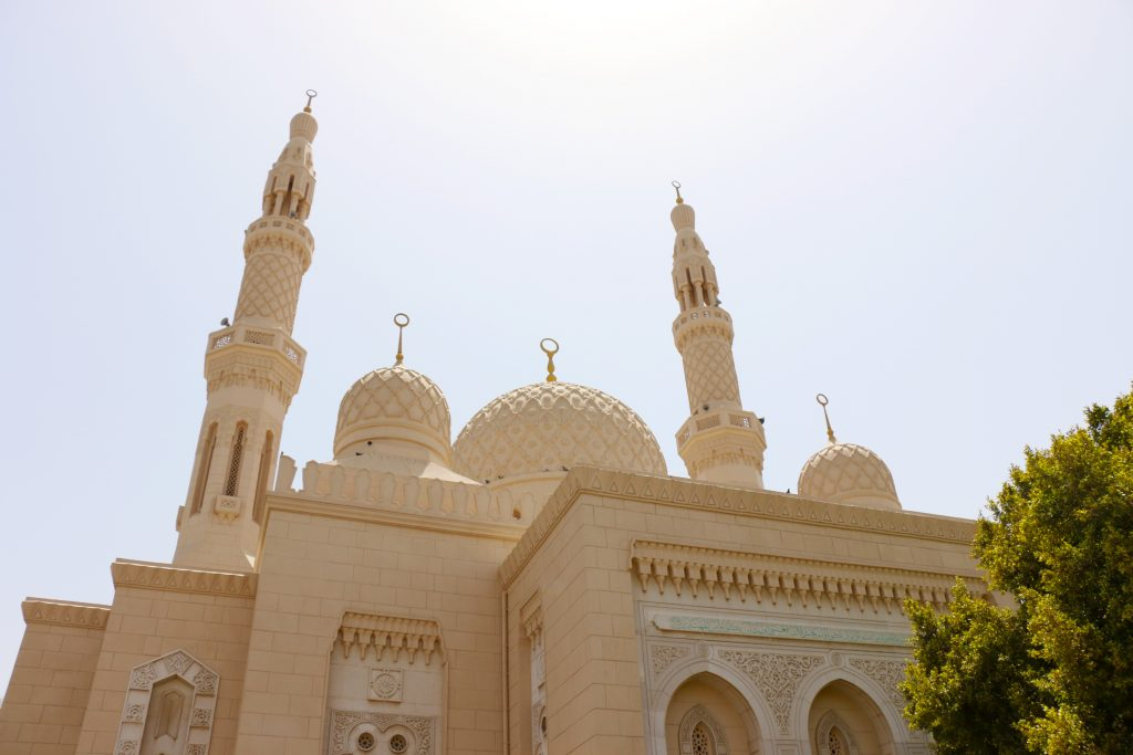 outside of Jumeriah Mosque -Things to do in Dubai