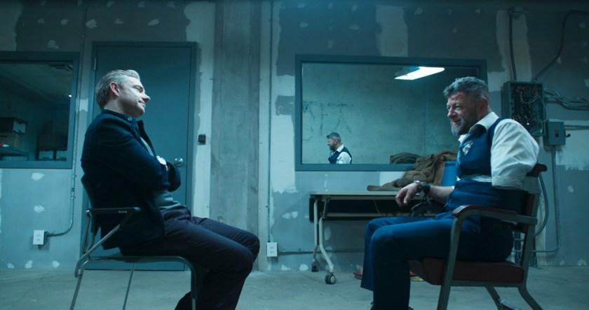 Marvel Studios' BLACK PANTHER. L to R: Everett K. Ross (Martin Freeman) and Ulysses Klaue (Andy Serkis). Ph: Film Frame. ©Marvel Studios 2018 | Credit: Marvel Studios