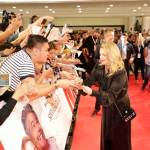 A fan meets Drew Barrymore during the Red Carpet event of Santa Clarita Diet 2 in SM Megamall.