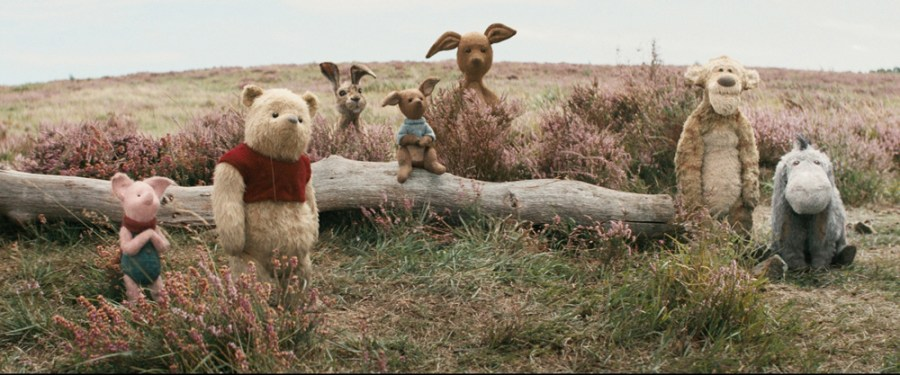 Piglet, Pooh, Rabbit, Roo, Kanga, Tigger and Eeyore in Disney's live-action adventure CHRISTOPHER ROBIN.   Credit: Walt Disney Studios