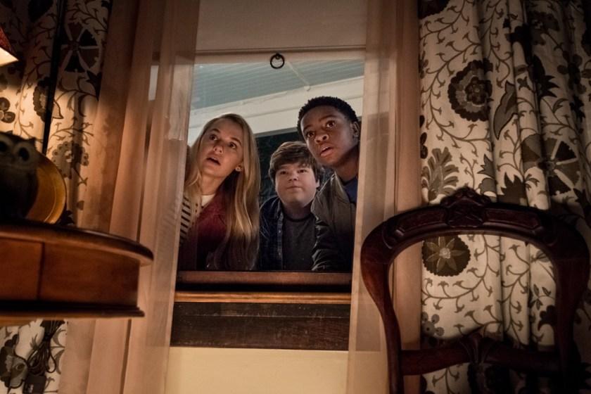 Madison Iseman (Sarah) Jeremy Ray Taylor (Sonny) Caleel Harris (Sam) in Goosebumps 2: Haunted Halloween. | Credit: Columbia Pictures
