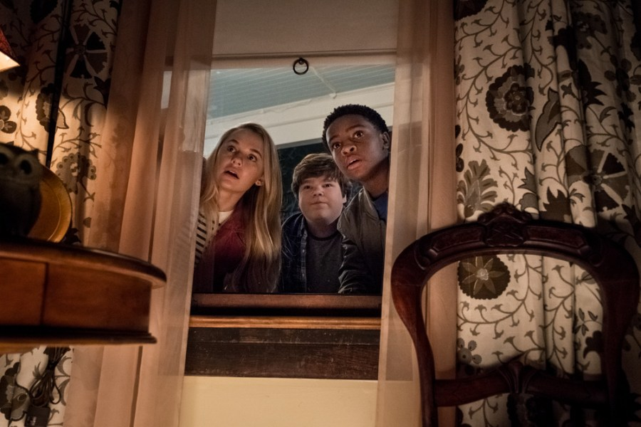 Madison Iseman (Sarah) Jeremy Ray Taylor (Sonny) Caleel Harris (Sam) in Goosebumps 2: Haunted Halloween. | Credit: Columbia Pictures