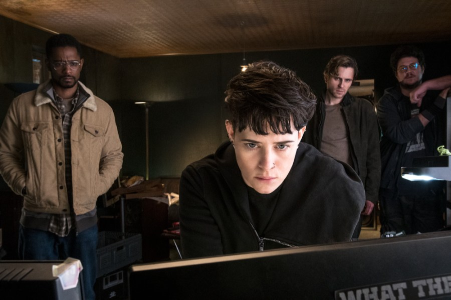Ed Needham (Lakeith Stanfield) Lisbeth Salander (Claire Foy) Mikael Blomkvist (Sverrir Gudnason) and Plague (Cameron Britton) in THE GIRL IN THE SPIDER'S WEB.   The Little Binger   Credit: Columbia Pictures