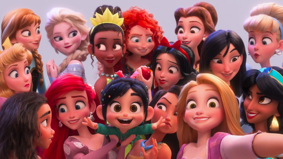 "SELFIE! – In ""Ralph Breaks the Internet,"" Vanellope von Schweetz hits the internet where she encounters and then befriends the Disney princesses. ©2018 Disney. All Rights Reserved. 
