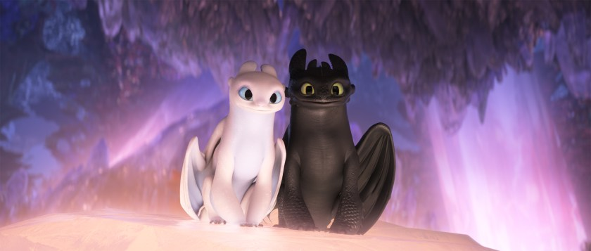 Toothless meets a female Night Fury and a lover in How To Train Your Dragon: The Hidden World. | The Little Binger | Credit: United International Pictures