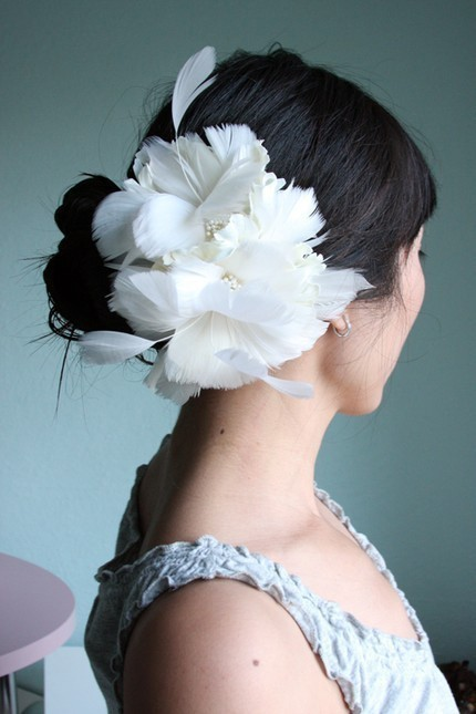 artsy vintage feather bridal hair accessories