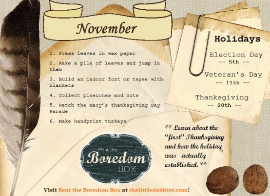 November Beat the Boredom Box  ||  thelittledabbler.com