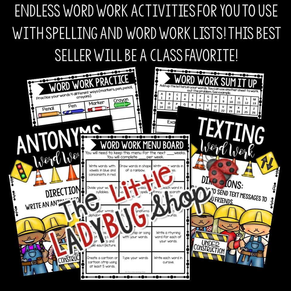 Worksheets Words Their Way Worksheets word work activities spelling words their way centers worksheets bundle