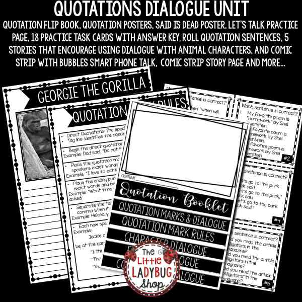 Quotation Marks & Dialogue Worksheets Activities