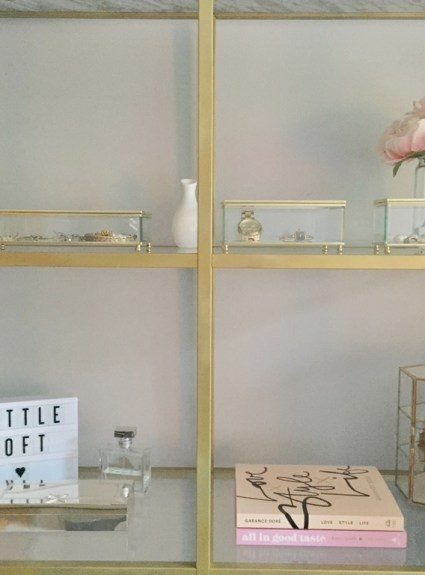 Ikea Hack: Gold and Marble Bookshelf