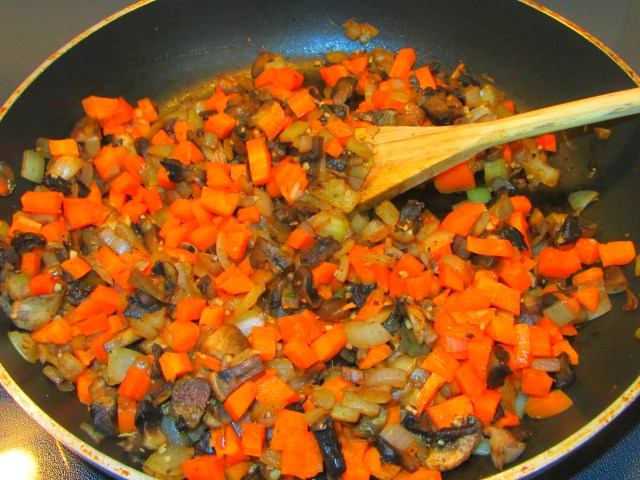 Saute carrots, onions, mushrooms, garlic, herbs and spice
