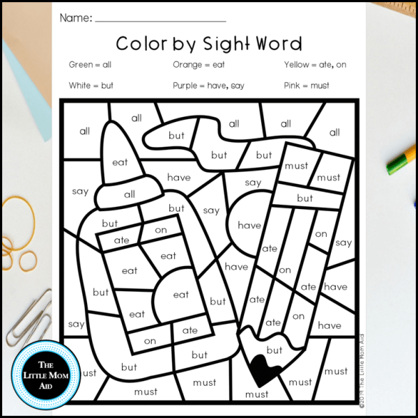 Back to Color by Sight Word