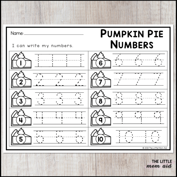 The recording sheets help preschool and kindergarten students to learn how to write numbers.
