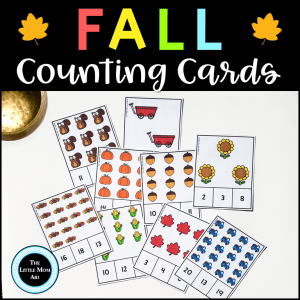Fall count and clip cards reinforce counting, 1:1 correspondence, number recognition and other preschool and kindergarten math skills.