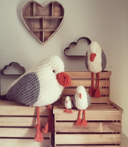 Knitted seagulls by The Little Songbird Knitting Co