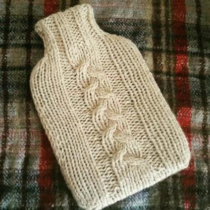 cable hot water bottle cover knitting kit tartan