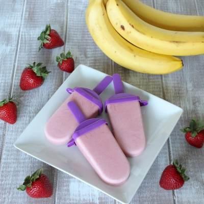 Strawberry Banana Fro-Yo Pops