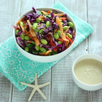 Detox Rainbow Salad with Tahini Dressing