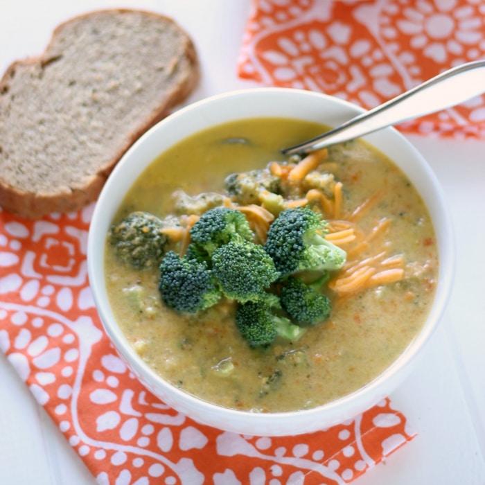 SKINNY Broccoli Cheddar Soup! • The Live Fit Girls
