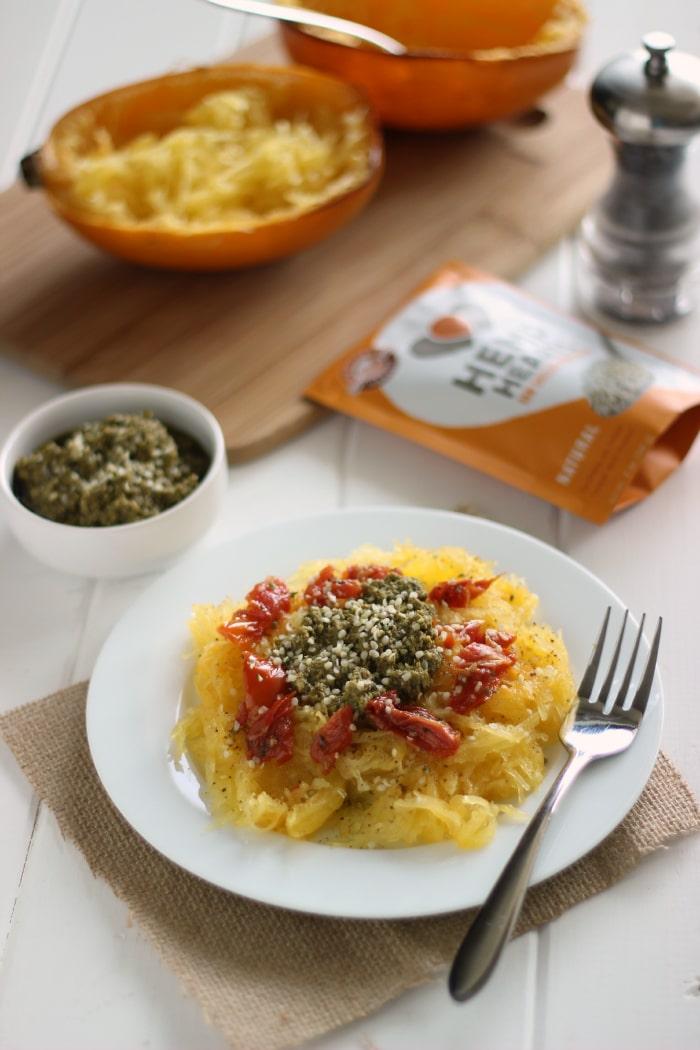 Spaghetti Squash with Pesto and Sun-dried Tomatoes