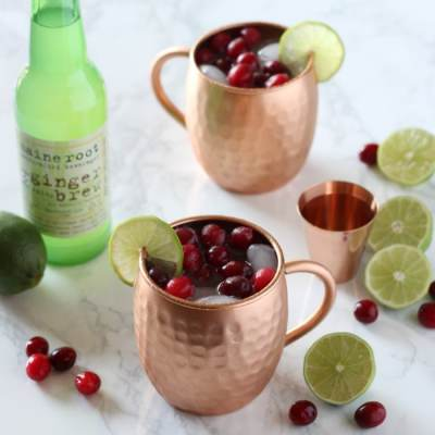 SKINNY Cranberry Moscow Mules