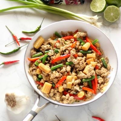 Healthy Thai Basil Turkey Stir Fry