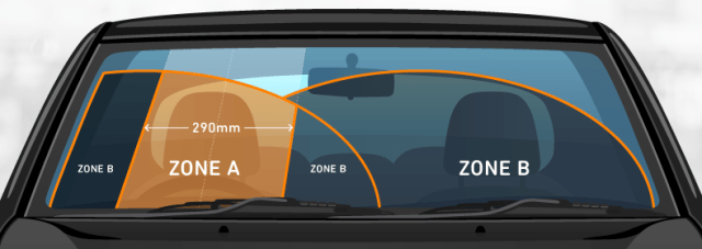 safe area for a cracked windscreen