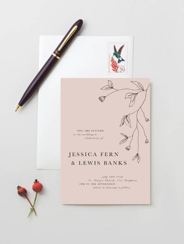 modern floral wedding stationery
