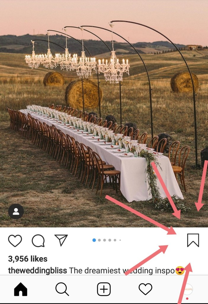 Where the instagram save to collection button is