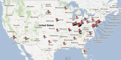 USA locations of pledges as of July 1, 2012