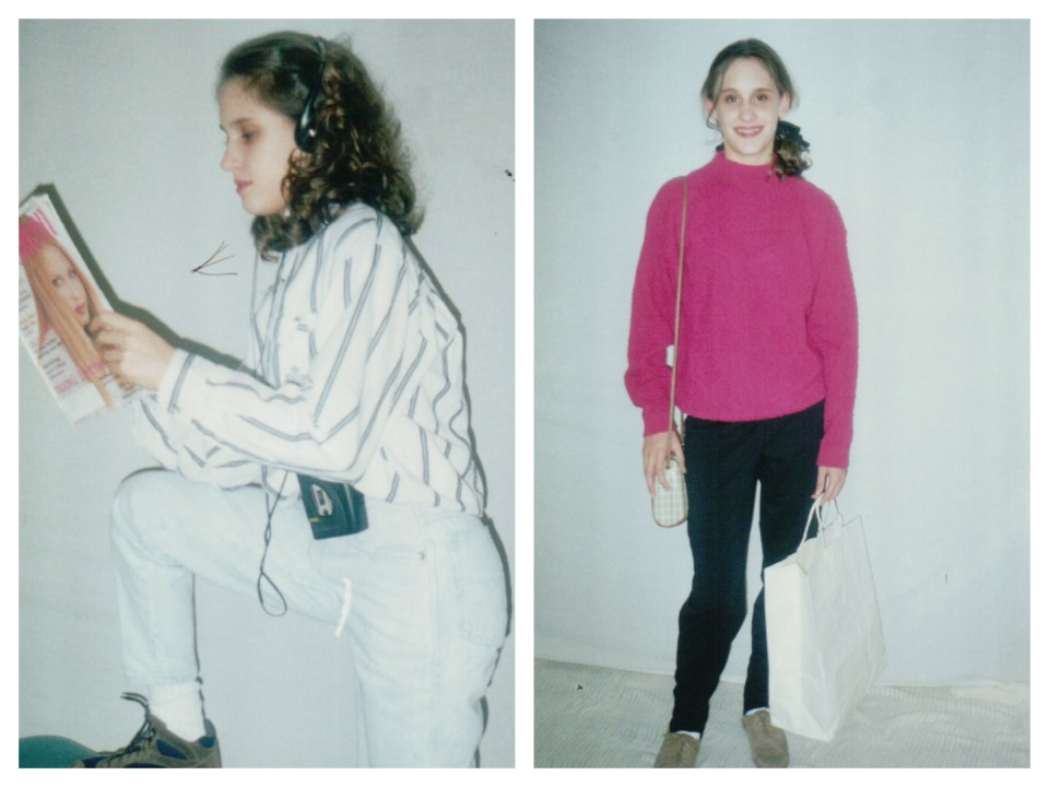 The styled fashion shots! Oh. my. gosh. The one on the right has a pretty cute outfit and nice hair/makeup, actually (go 12 year old me!) - the one on the left, please note the walkman and practically white jeans, ha! Vanessa was beautiful still though, despite being awkwardly reading on her propped up knee and standing in front of a sheet we draped over my closet door.