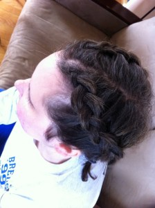 Her hair jussssst barely made it... but behold, 2 french braids!