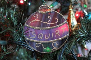 Ornament Dad made for me one year. He called me Squirt the day I was born, and I still answer to it (although only to him!) 33 years later.